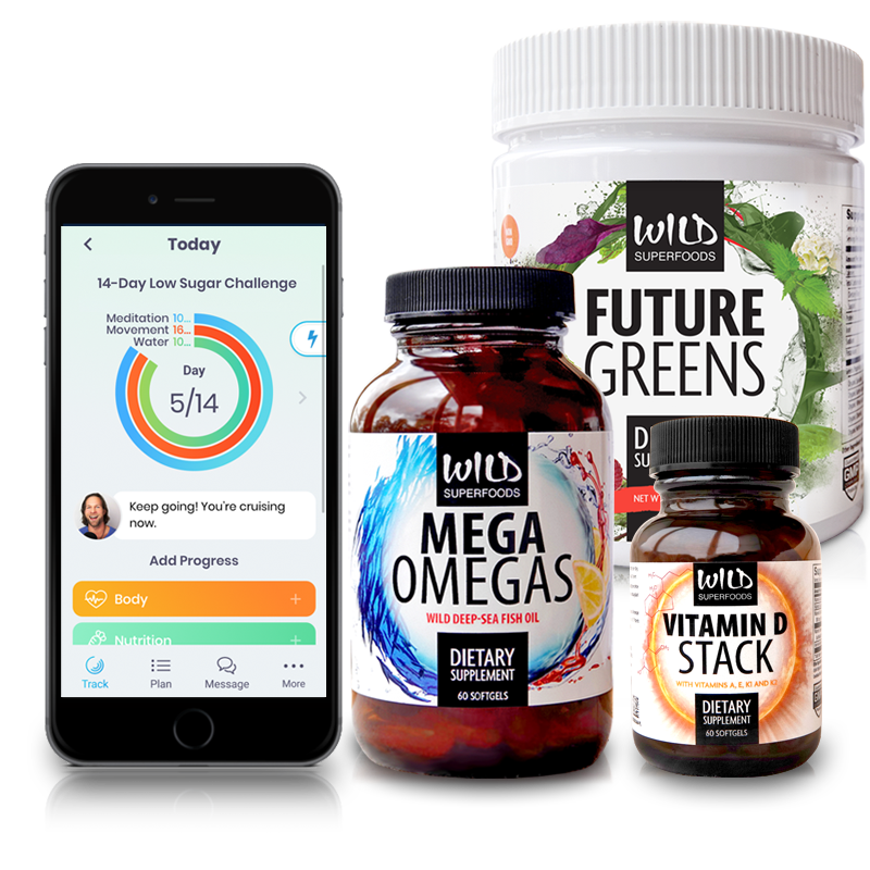 Wild Challenge Box with Wild Superfoods supplements and the Wild Challenge mobile app by Abel James