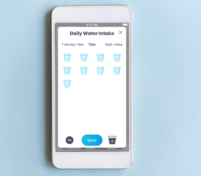 Water Intake Tracker in the Wild Challenge mobile app by Abel James