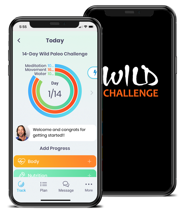 Wild Challenge mobile app by Abel James, available on Google Play and the App Store